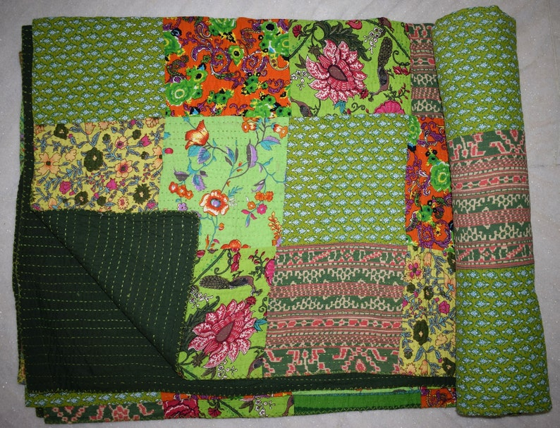 Kantha Hand Made Floral Printed Double Bed Cotton Quilt Blanket in Warm Throw size 90x108