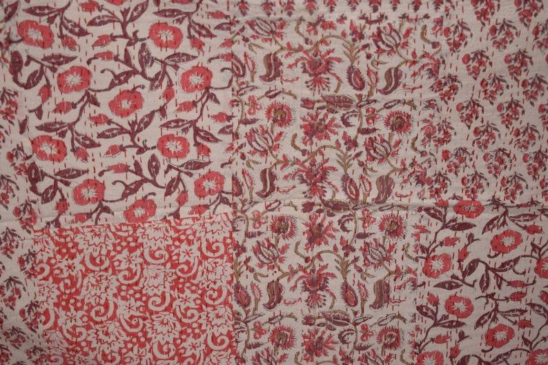 Block Print Kantha Throw Indian Handmade Blanket 100/% Cotton Bedspread Queen Quilt Throw Blanket 350