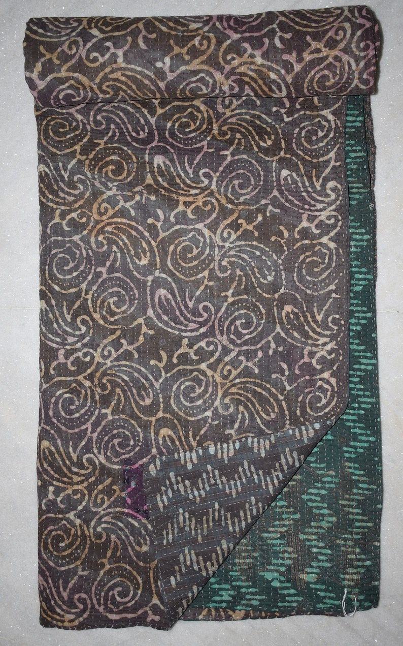 Cotton Sari Reversible Vintage Kantha Quilts Indian Traditional Artisan Bohemain Multi Color Twin Size Floral Throw Ethnic  23