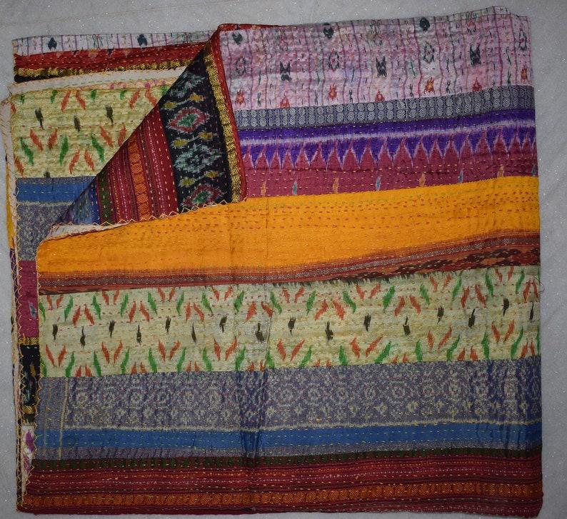 Vintage Silk Patola Kantha Printed Patchwork Quilt Throw Gudri Queen Size
