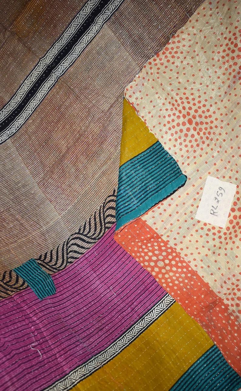Kantha Embroidered Reversible Quilt Vintage Quilt Indian Gudari Kantha Handmade Kantha Bedding BedspreadRL259