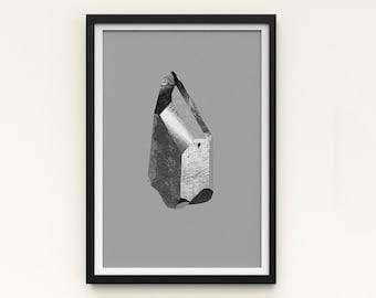 "Crystal Artwork   A Series of Crystals 'Pixie Mono'  11""x16""   Grey art print   Digital collage Modern wall art   Statement piece Room decor"