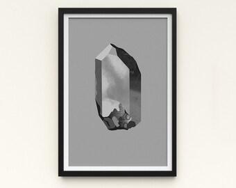 "Crystal Artwork   A Series of Crystals 'Pazazz Mono'  11x16""   Grey art print   Digital collage Modern wall art   Statement piece Room decor"