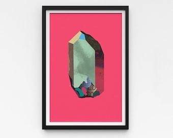 "Crystal Artwork   A Series of Crystals 'Pazazz'  11""x16""   Pink art print   Digital collage Modern wall art   Statement piece   Room decor"