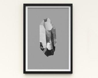 "Crystal Artwork   A Series of Crystals 'Pulse Mono'  11""x16""   Grey art print   Digital collage Modern wall art   Statement piece Room decor"
