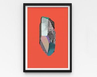 "Crystal Artwork   A Series of Crystals 'Punk'  11""x16""   Orange art print   Digital collage Modern wall art   Statement piece   Room decor"