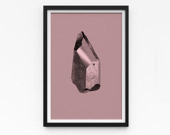 "Crystal Artwork   A Series of Crystals 'Pixie Rose'  11""x16""   Rose gold art print   Digital collage Modern art   Statement piece Room decor"