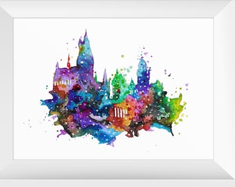 Harry Potter Hogwarts Schloss Kunst Aquarell Poster Druck | Etsy
