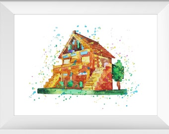 House Minecraft Watercolor Poster Print Minecraft Decor Etsy