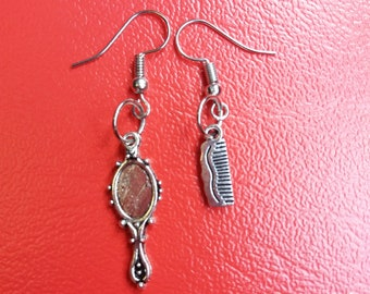 Silver mirror earrings and comb. Slopes