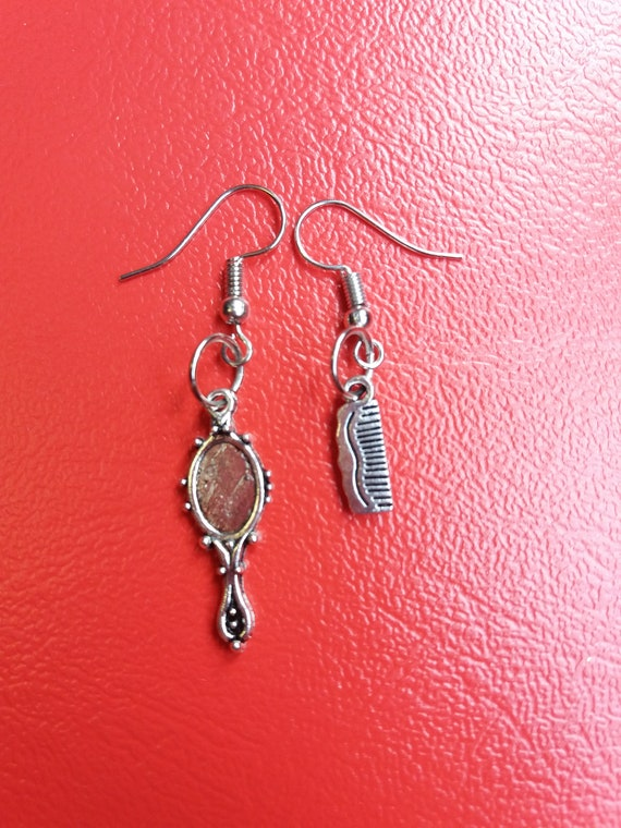 Slopes Silver mirror earrings and comb