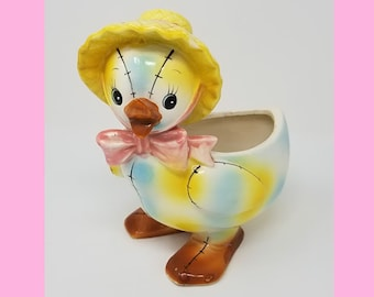 Adorable Vintage Relpo Duck Planter With Straw Hat And Stitching // Kitschy Retro Antique Planter // Nursery Decor // Baby Shower Gift //