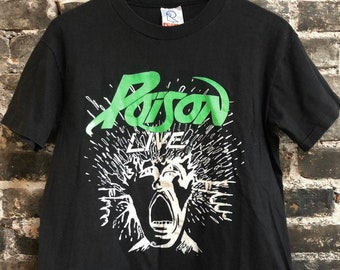 Vintage 80s Poision Live Rock Shirt MEDIUM