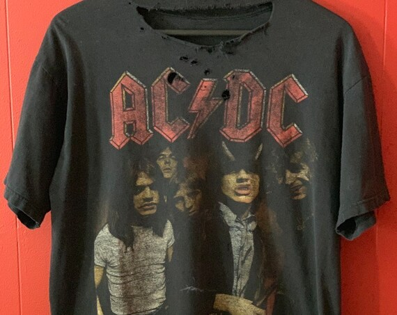 True Vintage 1979 ACDC Highway to Hell Thrashed Distressed T-Shirt, Large