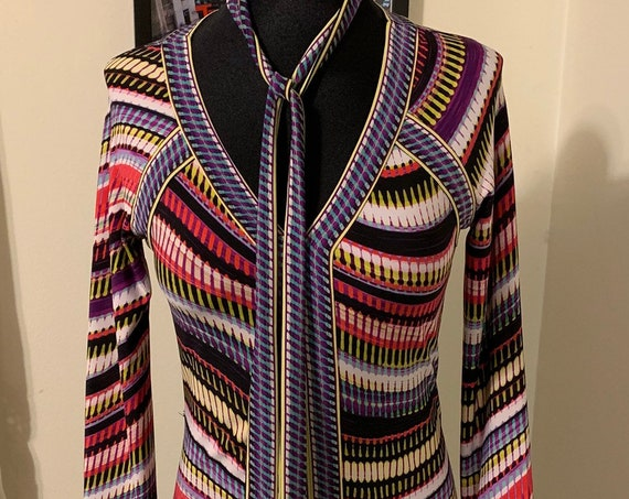 Retro BCBG Multicolor Striped Swirl V Neck Long Sleeve Cocktail Party Dress XS