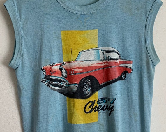 Vintage Sun Sportswear '57 Chevy Chevrolet Thrashed Thin Muscle Tank M