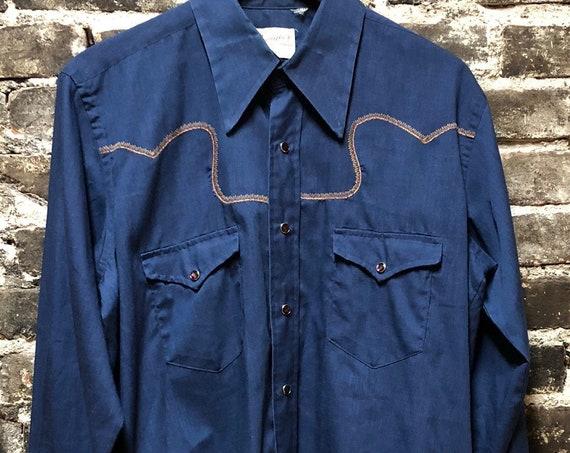 Vintage Rockabilly Western Wrangler Pearl Snap Blue Shirt, Large.