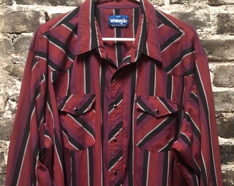 Vintage Wranger Men's Pearl Snap Distressed Thin Red & Black Western Shirt XXL