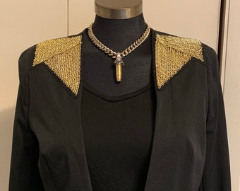 Women's Worthington Gold Chain Black Fitted Blazer S