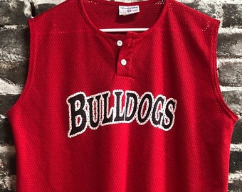 Vintage #9 Georgia Bulldogs Red Sleeveless Henley Mesh Jersey. Size XL