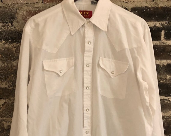 "Vintage Ely ""Plains"" White Western Pearl Snap Shirt. 16 1/2."