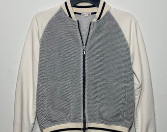 Vintage Gap Creme & Grey Zip Up Knit Varsity Sweater Small