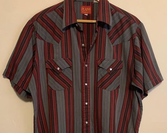 Vintage Men's Plains Western Wear Pearl Snap Short Sleeve Shirt L