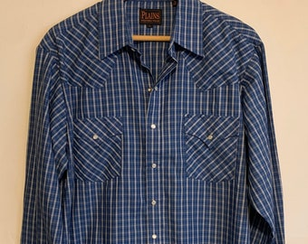 Vintage Plains Western Wear Royal Blue Plaid Pearl Snap Long Sleeve Shirt L