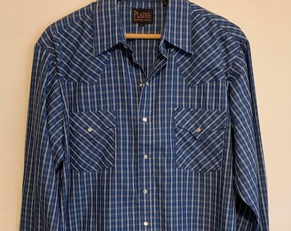 Vintage Plains Western Wear Royal Blue Plaid Pearl Snap Long Sleeve Shirt L