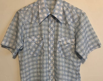 Vintage Men's Baby Blue Plaid Satin Western Pearl Snap Short Sleeve Shirt M
