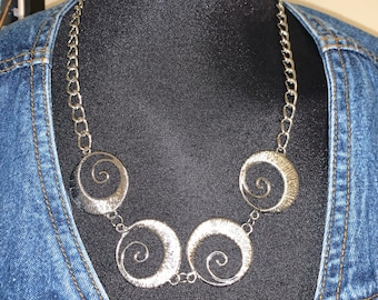 Real Savage Like Recycled Sisters of the Moon Silver Swirl Chain Necklace