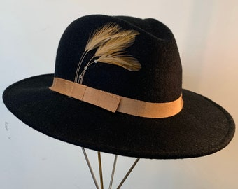 Vintage Black Felt Feather Brown Band Fedora Medium