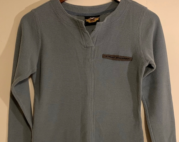 Women's Harley Davidson Grey Warm Winter Thermal Long Sleeve Henley Tee S