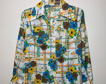Women's 70's Vintage Floral Flower Long Sleeve Button Down Blouse Small