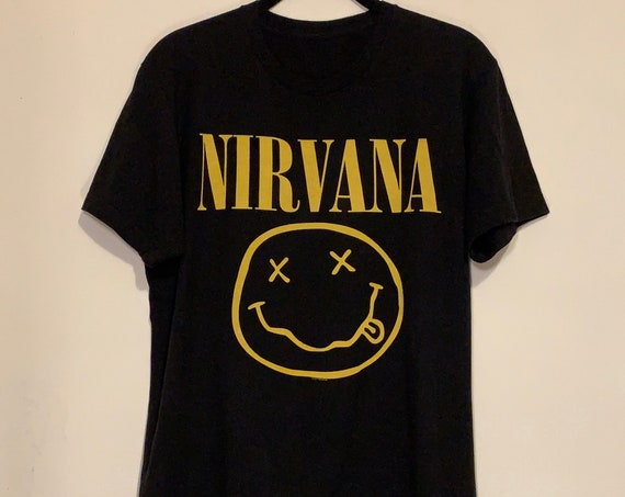 90s Throwback Nirvana Classic Smiley Face Distressed Soft T-Shirt M