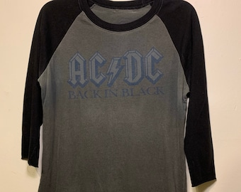 Vintage AC/DC Back In Black 1980-81 Tour Baseball Raglan Ringer Rock Tee Shirt S/XS