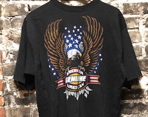 Vintage Genuine American Eagle Soft Distressed Motorcycle Tee Shirt XL