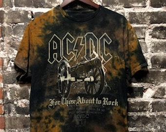"Vintage 90s ACDC ""For Those About to Rock"" Tie Dye Tee Shirt Large"