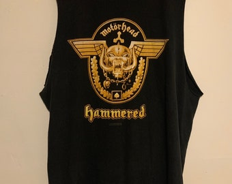 Motörhead Hammered Thrashed Distressed Cut Off Tank Top XL