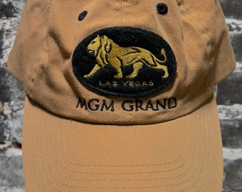 Vintage MGM Grand Casino Hotel Tan Adjustable Baseball Hat