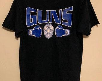 90s Vintage Police Dept Law Enforcement Guns Distressed T-Shirt M