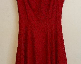 City Studio Red Rose Floral Sleeveless Fitted Flare Dress 0