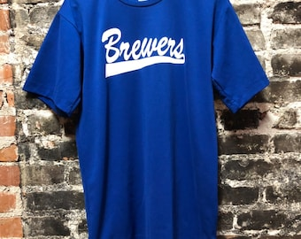 Vintage Brewers Brewbakers Royal Blue Baseball Jersey Adult Small