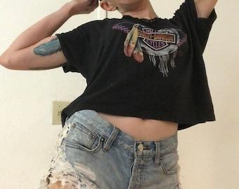 Vintage Women's Harley Davidson 3D Emblem Feathers Lace Shirt 1990 Soft Thin M/L