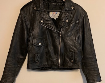 Vintage Wilson's Leather Distressed Black Motorcycle Jacket XS
