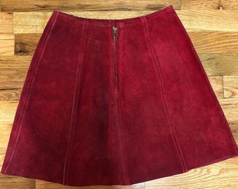 Rare Vintage Zig Zag San Francisco Red Leather Skirt XS
