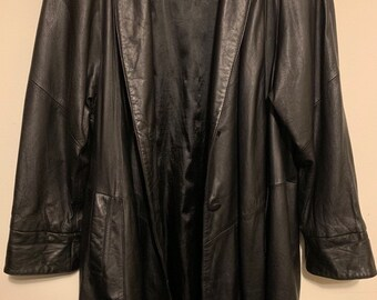 Vintage Wilson's Leather Black Overcoat Trenchcoat Duster S