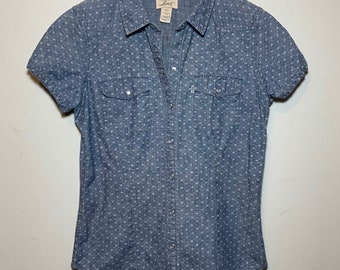 Women's Levi's Pearl Snap Blue & White Short Sleeve Western Blouse Small
