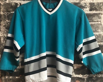 Vintage Plain Teal San Jose Sharks Hockey Jersey. Size Small.