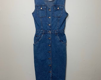 80s Vintage Bill Blass Sleeveless Denim Button Jean Dress Size 10 Excellent Condition